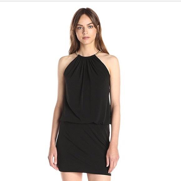 Jessica Simpson black gold halter dress